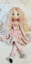 """18"""" Handmade Cloth Doll With Painted Face and Pretty Pink Ombre Hair"""