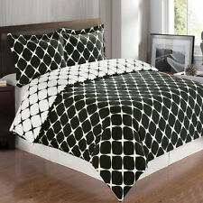 3PC Bloomingdale Combed Cotton Duvet Cover Set 300 Thread Count-Reversible