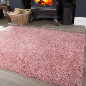 Modern Blush Pink Shaggy Rug Soft Thick Non Shed Easy Clean Living Room Rugs