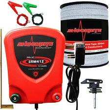 Mains Electric Fence Energiser ShockRite SRM412 200m 20mm Tape 25 Insulators