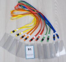 10x Kartenhülle / Ausweishülle B1 67x100mm mit Textilband / Namensschild + Band