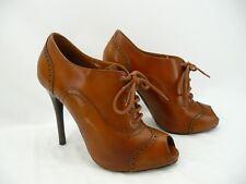 Ralph Lauren Purple Label Brown Leather Oxford Lace Up Heels Sz 37 / 7