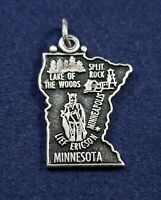 Minnesota Map Charm - Vintage - 925 Sterling Silver