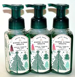 3 BATH & BODY WORKS WINTER CITRUS WREATH GENTLE FOAMING HAND SOAP WASH 8.75 OZ
