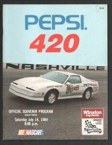 Nashville Raceway NASCAR Pepsi 420 Auto Race Program 7/14/1984-Race info-stat...