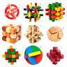 3D Wooden toys IQ brain teaser burr adults puzzle educational kids unlock gDS