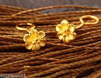 Solid 999 24K Yellow Gold Earrings/  Women's Little Flower Earring Stud /1g