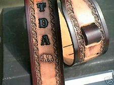 CUSTOM MADE HAND- TOOLED  LEATHER GUITAR STRAP WITH NAME & BEARS