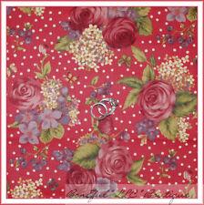 BonEful Fabric FQ Cotton Quilt Northcott Pink Ivory Cream Rose Flower Dot Calico