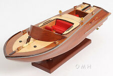 """Handcrafted Classic Runabout Speed Boat Wooden Model 16"""" Powerboat"""