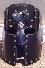 Leather Helmet Fantasy Mask Armor SCA LARP fetish Helm Medieval Knight Cosplay