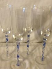 Champagne Flutes Glasses with Blue Swirl in the Stem Set of Four