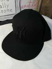New Era New York Yankees Solid Black Blackout Wool Cap 59fifty Fitted sz 7 5/8