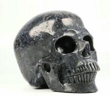 """Huge 5.0"""" Iolite Carved Crystal Skull, Realistic, Crystal Healing"""