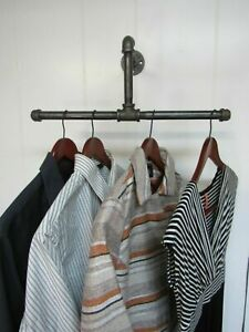 Vintage Double Wall Mounted Clothes Rail Industrial Pipe Home or Retail T shape