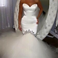 Mermaid white ivory Satin Sweetheart Wedding Dresses Bridal Gown custom/