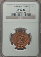 MEXICO ESTADOS UNIDOS 1935  2 CENTAVOS COIN CERTIFIED UNCIRCULATED NGC MS63-RB