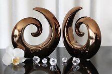 2 x Deko Skulptur Keramik bronze, kupfer design Figur 16cm abstrakt modern