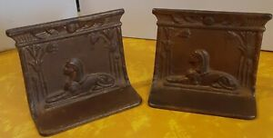 Vintage Sphinx Egyptian Bookends Cast/Metal bronzed colored pair book holders