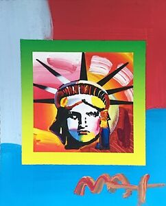 Liberty Head II on Blends, Mixed Media Painting, Peter Max - SIGNED