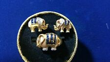 Vintage 18 k Elephant earrings and ring w/ Sapphire,diamonds and rubies