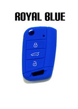 ROYAL BLUE SILICONE KEY FOB COVER CASE FOR VOLKSWAGEN VW MK7 MKVII BUTTON REMOTE