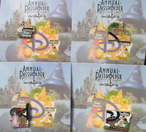 WDW~2014 Annual Passholder Park Series Stained Glass 4 Pins Set~Stitch LE 2500