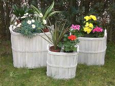 3-teiliges Korb-Set, 3 Körbe aus Holz shabby chic, Gartendeko Kaminholzkorb oval