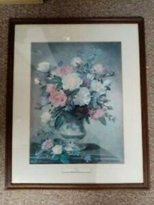 item is Glass Framed Art Print Floral ~ ROSES ~ by Albert Williams