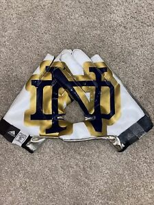 USED 2013 TEAM ISSUED NOTRE DAME FOOTBALL ADIDAS LOGO ND GLOVES XL