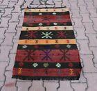 Turkish Handmade Red Kilim Rug Cappadocia Embroidered Tribal Ethnic Carpet 2x4ft