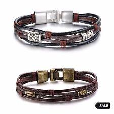 "Genuine Tribal Multi-Layer Leather and Hemp Unisex Bracelet (8.66""L)"