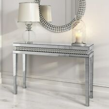 Narrow Mirrored Hall Console Table with Diamond Gems - Jade Boutique