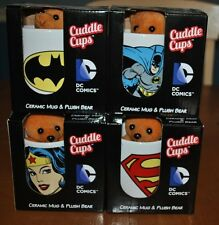 CUDDLE CUPS SET BATMAN, SUPERMAN & WONDER WOMAN DC COMICS CERAMIC MUG PLUSH BEAR