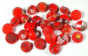 """28 Vintage Red Glass Buttons Various Designs 1/2 to 9/16"""""""