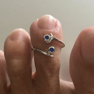 Sterling Silver Blue Sapphire CZ Toe Ring, Silver Ring, CZ Ring