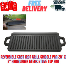 Reversible Cast Iron Grill Griddle Pan 20