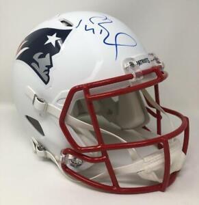 TOM BRADY Autographed Patriots White Matte Authentic Speed Helmet FANATICS