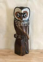 Brown Owl Plain 25cm Wooden Hand Carved Wood Home Decor Sculpture Fairtrade