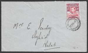 Basutoland KGVI 1d & X'Mas seal on single franked cover to Natal, South Africa