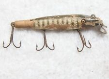 Vintage Wood Fishing Lure Three Hook Minnow Fleuger White Green Antique Rare Old
