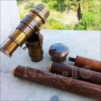 Brass Antique Style Telescope Handle Vintage Wooden Victorian Walking Cane Stick