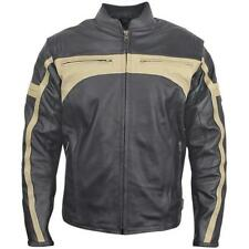 Mens Biker Jackets Leather Sports Beige Stripes Retro Motorcycle Casual Slim Fit
