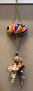 """Paper Mache Clown With Three Balloons 20"""" VIntage Mexican Art"""