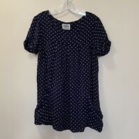 Anthropologie Holding Horses Women's Tunic Top  Navy Blue White Polka Dot Size S