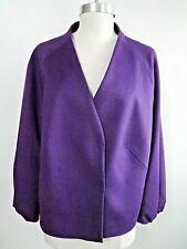 AKRIS PUNTO purple wool blend hidden snap front jacket blazer size 16 WORN ONCE