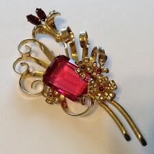 VINTAGE SIGNED STERLING SILVER GOLD VERMEIL RED AND CLEAR RHINESTONE BROOCH