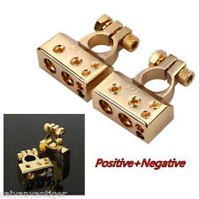 2pcs Golden 12V (- and +) Battery Terminals Clamps Connectors For Car Van Truck