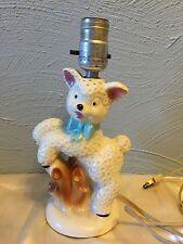 Vintage 1940-50s Little Bo Peep Ceramic Lamb Lamp Nursery Decor Excellent