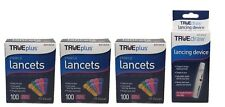 3x100 TRUEplus Diabetic Test Sterile Lancets 33 Gauge WITH FREE LANCETS DEVICE